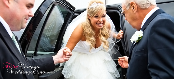 bride getting out of a limo holding hands with her father