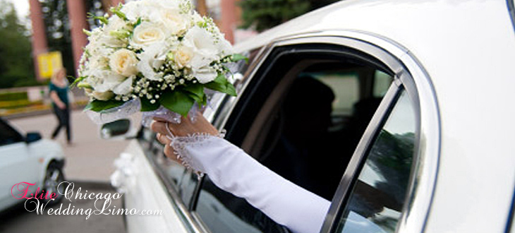 bride is holding her bouquet  inside Chicago Limousine